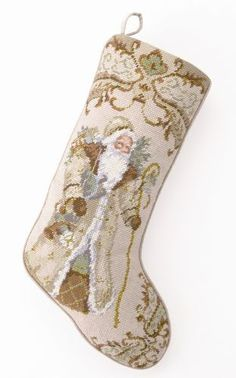 Gold Victorian Santa, what a gorgeous Christmas stocking pattern. Discover a collection of needlepoint stockings in holiday themes and dog breeds. Victorian Christmas, Christmas Cross, Christmas Balls, Christmas Gifts, Christmas Ideas, Christmas Decor, Merry Christmas, Father Christmas, Green Christmas