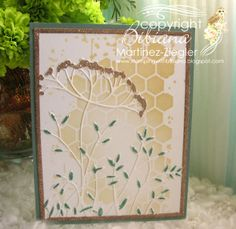 """by Stamping with Bibiana: CAS Flower Card with the new 2014 """"Toulouse Background"""" die from Memory Box."""