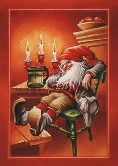 Lars Carlsson ~ Due For a Rest Vintage Christmas Cards, Christmas Pictures, Vintage Cards, Swedish Christmas, Christmas Elf, Christmas Knomes, Christmas Illustration, Faeries, Gnomes