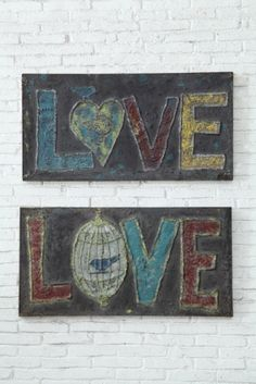 #Embossed Metal #Love Wall Décor, 2 Styles © from our Heart and Home Collection #decor