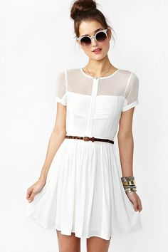 Light Wave Dress in white - sheer mesh top with layered detailing