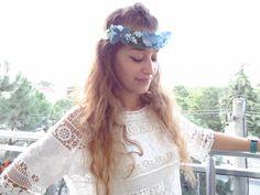 Blue Hydrangea Flower Crown Wedding Hair Wreath by sevinchjewelry