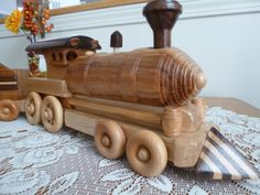 Wooden Train Set (2 pc.)  Handmade Locomotive and Tender / Inlay on Etsy, $188.92 CAD