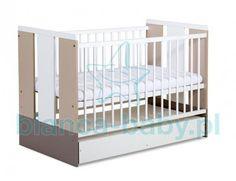 Klupś łóżeczka drewniane dziecięce Paula Latte 120x60 cm - z pojemnikiem bez kółek KL-111