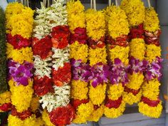 Flower garlands on the streets of Little India Indian Wedding Flowers, Floral Wedding, Indian Weddings, Flora Flowers, Fall Flowers, Floral Garland, Flower Garlands, India Colors, Colours