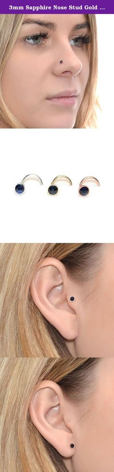 3mm Sapphire Nose Stud Gold 20g / Forward Helix Earring, Tragus Stud. This is a very beautiful 14k rose gold filled sapphire nose stud earring. This can be a perfect gift for you or your beloved ones! It can be used for earlobe, cartilage, helix and tragus piercing as well. *The listing is for ONE stud (not for a pair) *Post shapes available L Shape, Left Screw (for left nostril), Right Screw (for right nostril), Earlobe post - 11mm, Tragus post - 9mm *Gauges (wire thickness) available…