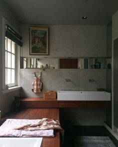 : interiors via Long Bath, Sink Or Swim, Wood Bathroom, Map Art, Beautiful Bathrooms, Double Vanity, Palette, House, Inspiration