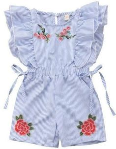 Baby girl Floral Ruffled Romper - Baby girl Floral Ruffled Romper Your todler girl will surely love the ruffles and embroidered floral details of this romper! Check it out today Dresses Kids Girl, Little Girl Outfits, Toddler Boy Outfits, Little Girl Fashion, Toddler Fashion, Kids Outfits, Kids Fashion, Toddler Girls, Fashion Clothes