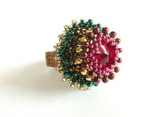 Beaded ruby ring - Seed bead ring - Handmade beadwork statement ring - Large statement ring