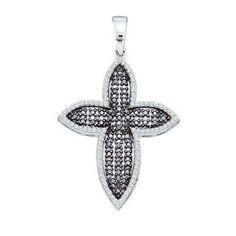 14k White Gold 0.58Ctw Diamond Cross Pendant