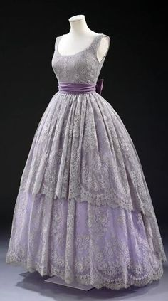 Fath Dress - 1957 - Design by Jacques Fath (French, 1912-1954) - Machine-made lace, silk lined with cotton, boned, net, plastic and nylon, and velvet - Victoria and Albert Museum Collection, London