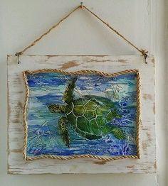 Encaustic Sea Turtle on wood. #Beach#coastal#hawaii#original#painting#