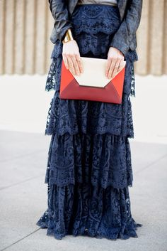 Check out this gorgeous lace maxi skirt look that would be great for any red carpet occasion. Modest Outfits, Modest Fashion, Hijab Fashion, Cute Outfits, Apostolic Fashion, Lace Maxi, Look Chic, Looks Cool, Dress Skirt