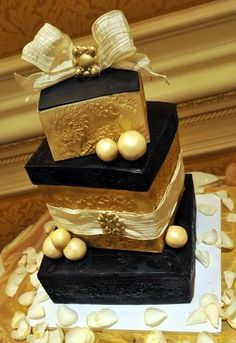 fondant ivory brown chocolate gold