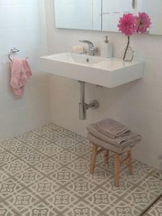 Modern basin, old style tiles Beach House Bathroom, Family Bathroom, Bathroom Renos, Bathroom Ideas, Style Tile, Wet Rooms, Tile Patterns, Bathroom Inspiration, Tile Floor