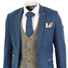 Traje de corte a medida en espiga a cuadros de 3 piezas en espiga azul marino marrón para hombre Blue Tweed Wedding Suits, Blue Tweed Suit, Vintage Wedding Suits, Mens Tweed Suit, Wedding Waistcoats, Blue Suit Men, Tweed Suits, Mens Suits, Best Blue Suits For Men