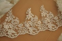 Beautiful Bridal Alencon Lace Trim for DIY Weddings by lacetime