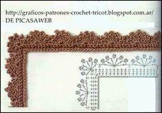 PATRONES - CROCHET - GANCHILLO - GRAFICOS: PUNTILLAS TEJIDAS A CROCHET Crochet Round, Crochet Trim, Crochet Lace, Crochet Borders, Crochet Stitches, Crochet Designs, Crochet Patterns, Round Border, Lace Trim