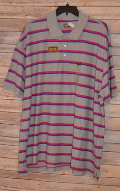 40643717a MENS FOUNDRY SHORT SLEEVE POLO SPORT SHIRT BIG   TALL 4XL GRAY ROSE BLUE  STRIPE  Foundry  PoloRugby
