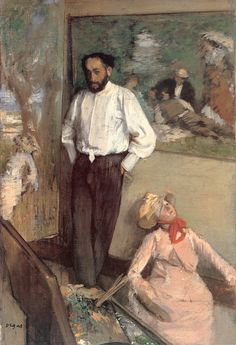 """""""Portrait of the Painter Henri MichelLevy"""" (by French artist - Edgar Degas), Oil on canvas."""