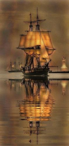 Pirate Ship in the Bay Reflecting Art, 2018 Bateau Pirate, Old Sailing Ships, Ocean Sailing, Ship Paintings, Wooden Ship, Ship Art, Tall Ships, Water Crafts, Lighthouse