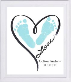 Heart Outline Footprint Wall Art tattoo ideas in memory of Baby Footprint Art, Forever Prints hand and footprint keepsake for kids or baby. Mother's Day, New Mom, Nursery Art Baby In loving memory Mothers Day Crafts For Kids, Fathers Day Crafts, Baby Crafts, Toddler Crafts, Crafts For Babies, Newborn Crafts, Toddler Art, Baby Footprint Art, Heart Outline