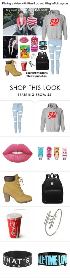 """""""Filming a video with Kian & Jc and @highoffofmagcon"""" by be-robinson ❤ liked on Polyvore featuring Topshop, Lime Crime and Again"""