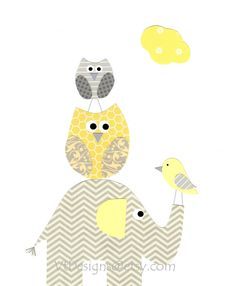 Georgia's Friends-Kids Wall Art Gray and Yellow Nursery Nursery Art Art by vtdesigns, $14.00