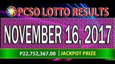 PCSO Lotto Results November 16, 2017 (6/49, 6/42, 6D, SWERTRES & EZ2 LOTTO) Lotto Results, Broadway Shows, November, Youtube, November Born, Youtubers, Youtube Movies