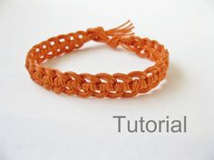 Quick macrame bracelet photo tutorial pattern pdf orange how to knot instructions Christmas gift micro adjustable easy diy handmade jewelry