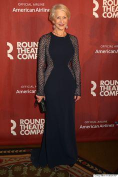 Helen Mirren looks impossibly elegant in this sheer, glittering Carmen Marc Valvo gown
