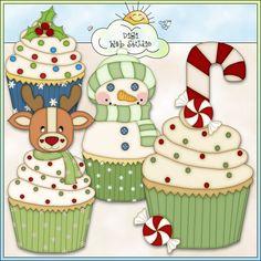 Christmas Cupcakes 2 - Non-Exclusive Angie Wenke Clip Art : Digi Web Studio, Clip Art, Printable Crafts  Digital Scrapbooking!