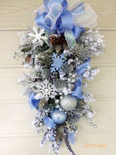 Elegant Christmas Door Swag  Snowflake  by JulieButlerCreations