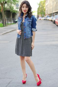 Dotted Shirt With Jacket And Stylish Red Shoes
