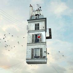 """坂井直樹の""""デザインの深読み"""": アニメでは人も建物も空中浮遊するのはお約束だが、このLaurent Chehereによって作成されたフライングハウスの画像はリアリティーと幻想が混在する。"""