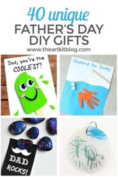 40 DIY Father's Day Gifts You Can Make Right Now. We've found 40 unique and adorable cards and crafts for you to choose from. To see them all, please continue reading on the blog. #fathersday #theartkit #diyfathersdaygifts via @theartkit