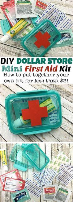 Dollar Store Mini First Aid Kits DIY Dollar Store Mini First Aid Kit - such an easy and cheap idea to keep supplies on hand!DIY Dollar Store Mini First Aid Kit - such an easy and cheap idea to keep supplies on hand!