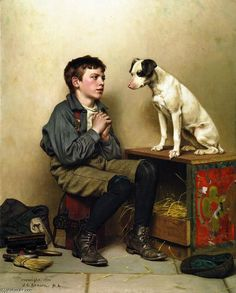 Shoeshine Boy with Dog, Oil On Canvas by John George Brown (1831-1913, England)