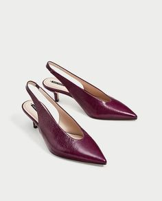 Image 4 of SLINGBACK LEATHER HIGH HEEL COURT SHOES from Zara