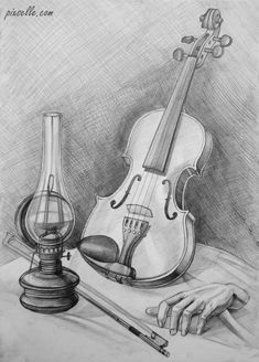 58 Musical Instruments And People Pencil Drawing Ideas - Art Easy Drawings Sketches, Music Drawings, Pencil Art Drawings, Cool Art Drawings, Realistic Drawings, Drawing Ideas, Pencil Sketches Landscape, Violin Art, Still Life Drawing
