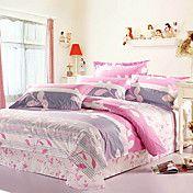 4 peças 100% algodão estilo moderno esteticismo floral print conjunto de capa de edredon