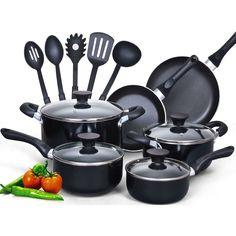 15-Piece Non-Stick Kitchen Cookware Set in Black