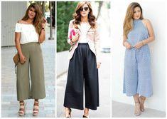 """Los pantalones culotte son una de las prendas mas """"in"""" de esta temporada y lo seguirá siendo durante el otoño. Parece una falda, tiene el largo de una bermuda pero si, es considerado ¡un pantalón! El cual si lo sabemos combinar, podemos crear looks increibles y lucir ¡como todas unas fashionistas! ¿Te atreverías a usarlos?"""