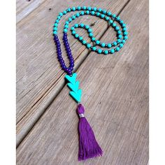 Beaded Stretch Necklace with Turquoise Beads por BetsyGraceJewelry