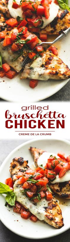 Easy, healthy grilled bruschetta chicken with simple seasonings, melty mozzarella cheese, and a fresh tomato and basil topping is the perfect summer meal! | lecremedelacrumb.com