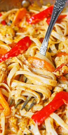 Mexican Chicken Pasta with bell peppers and green chiles, in a creamy sauce made with Cheddar and Mozzarella cheeses and spices!