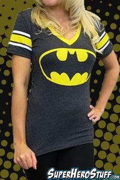This is the best selling Batman V-Neck for Women! The retro Batman symbol will take you back.   Take 15% off with code: Superman15
