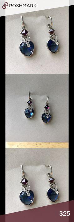 """Crystal Earrings Blue-Purple Crystal Rhinestone Drop Chandelier Dangle Earrings.                                    Length 1.5""""  Width 0.25"""" Jewelry Earrings"""
