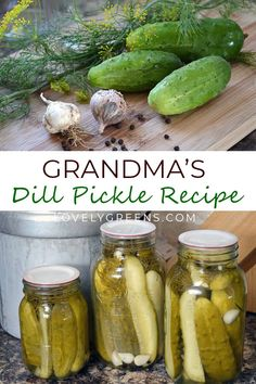Dill Pickle Recipe - Grandma's recipe for crunchy Dill Pickles. Using fresh cucumbers, dill, spices, and brine, this f - Grandma's Dill Pickle Recipe, Canning Dill Pickles, Home Made Pickles Recipe, Cucumber Canning, Brine Recipe For Pickles, Classic Dill Pickle Recipe, Old Fashioned Dill Pickle Recipe, Crunchy Pickle Recipe, Refrigerator Dill Pickles