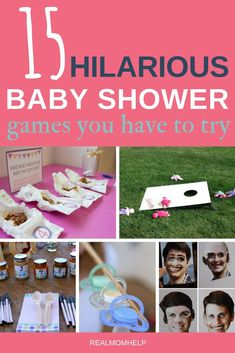 Hilarious Baby Shower Games Try these unique baby shower games with your guests and you will have an unforgettable time!Try these unique baby shower games with your guests and you will have an unforgettable time! Baby Shower Games Unique, Baby Shower Party Games, Baby Shower Crafts, Baby Shower Activities, Baby Shower Fun, Baby Shower Favors, Shower Gifts, Baby Shower Decorations, Baby Shower Games For Large Groups
